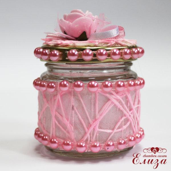 Бурканче за мед в розово за кръщене